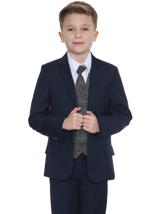 5pc Navy Suit with Blue Check Thomas