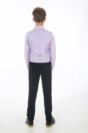 Boys 4 Piece Suit Black with Lilac Waistcoat Alfred