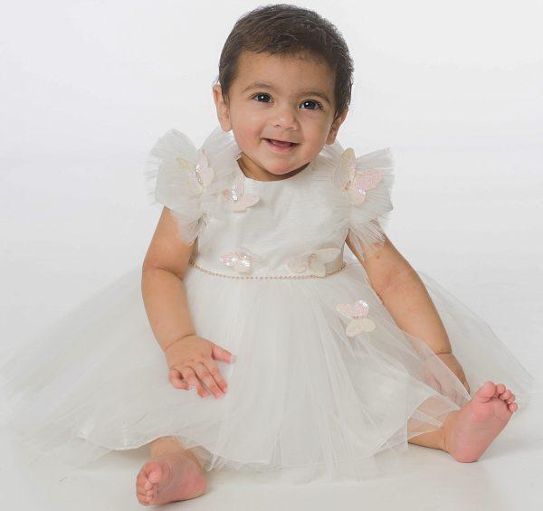 Baby Girls Butterfly Dress in Ivory
