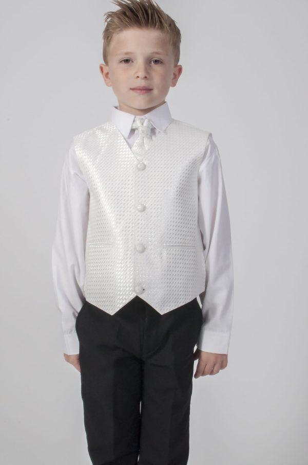 Boys 4 Piece Suit Black With White Waistcoat Philip