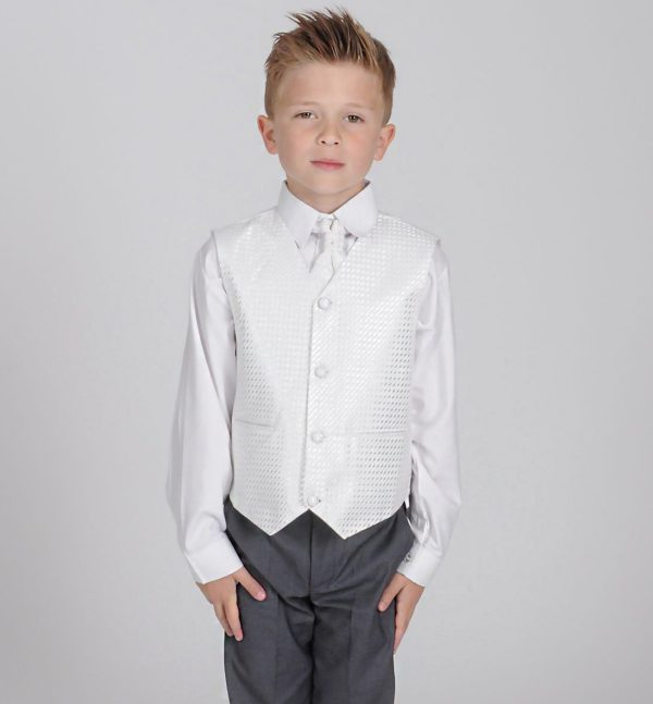 Boys 4 Piece Suit Grey With White Waistcoat Philip