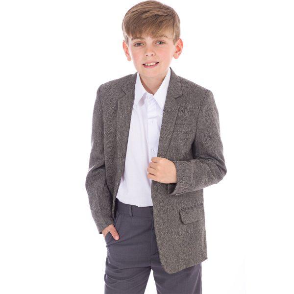 Tweed Herringbone Grey Jacket