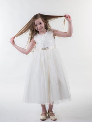 Flower Girl Dresses and Bridesmaid Dresses Girls Brooch Dress Ivory