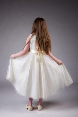 Girls Brooch Dress Ivory
