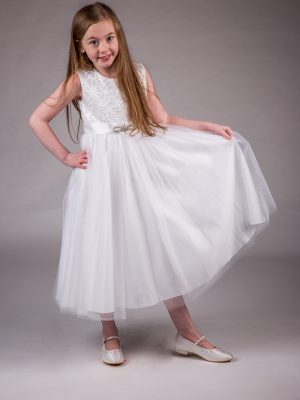Flower Girl Dresses and Bridesmaid Dresses Girls Brooch Dress White