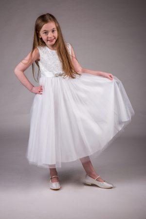 Girls Brooch Dress White