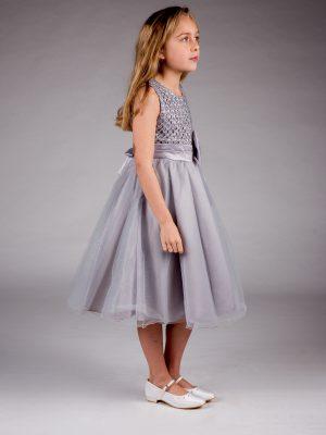 Girls Girls Sparkle Bow Dress Silver