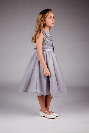 Girls Sparkle Bow Dress Silver