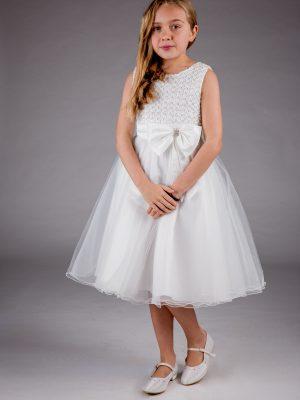 Flower Girl Dresses and Bridesmaid Dresses Girls Sparkle Bow Dress Ivory