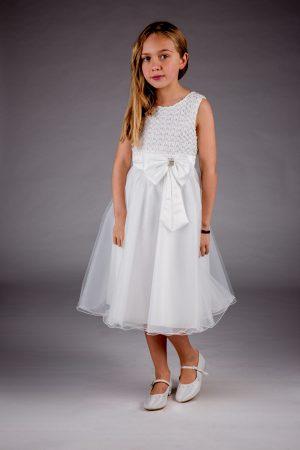 Girls Sparkle Bow Dress Ivory