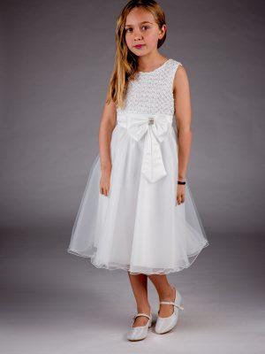 Girls Girls Sparkle Bow Dress White