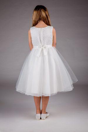 Girls Sparkle Bow Dress White
