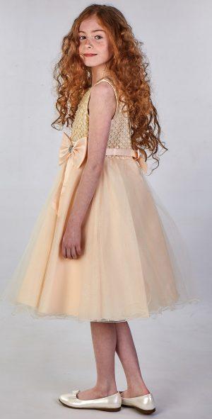 Girls Sparkle Bow Dress Peach