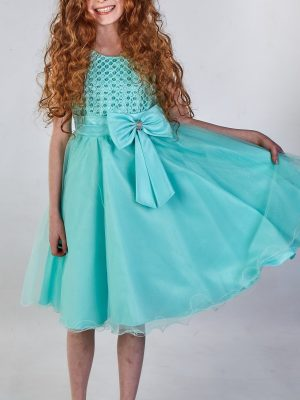 Girls Girls Sparkle Bow Dress Mint