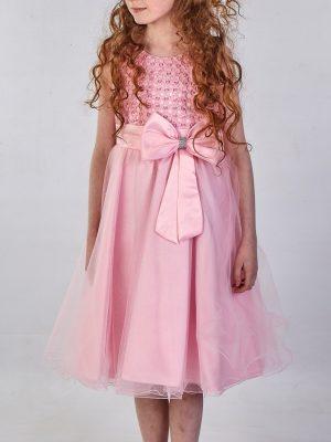 Girls Girls Sparkle Bow Dress Pink