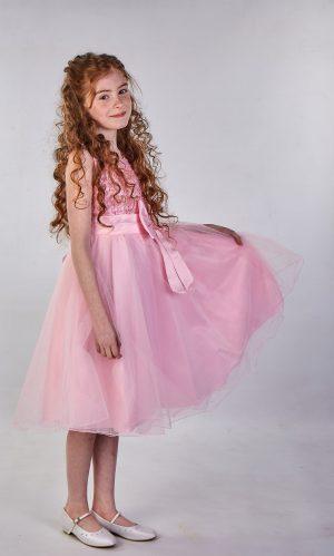 Girls Sparkle Bow Dress Pink