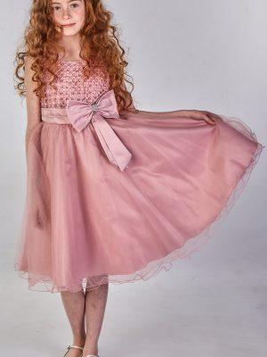Girls Girls Sparkle Bow Dress Dark Pink