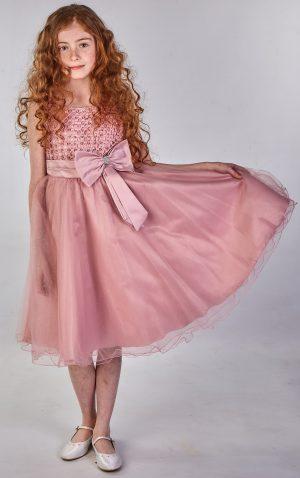 Girls Sparkle Bow Dress Dark Pink