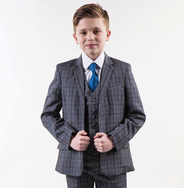 Boys Check Suit Grey