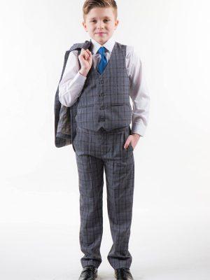 Boys 5 Piece Suits Boys Check Suit Grey
