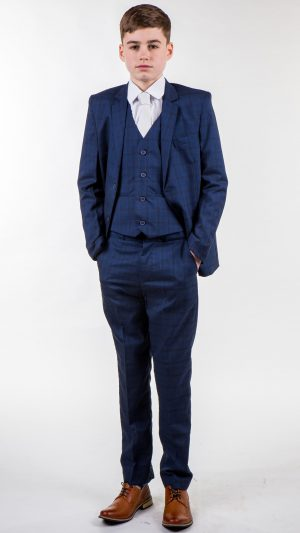 Boys Check Suit Navy