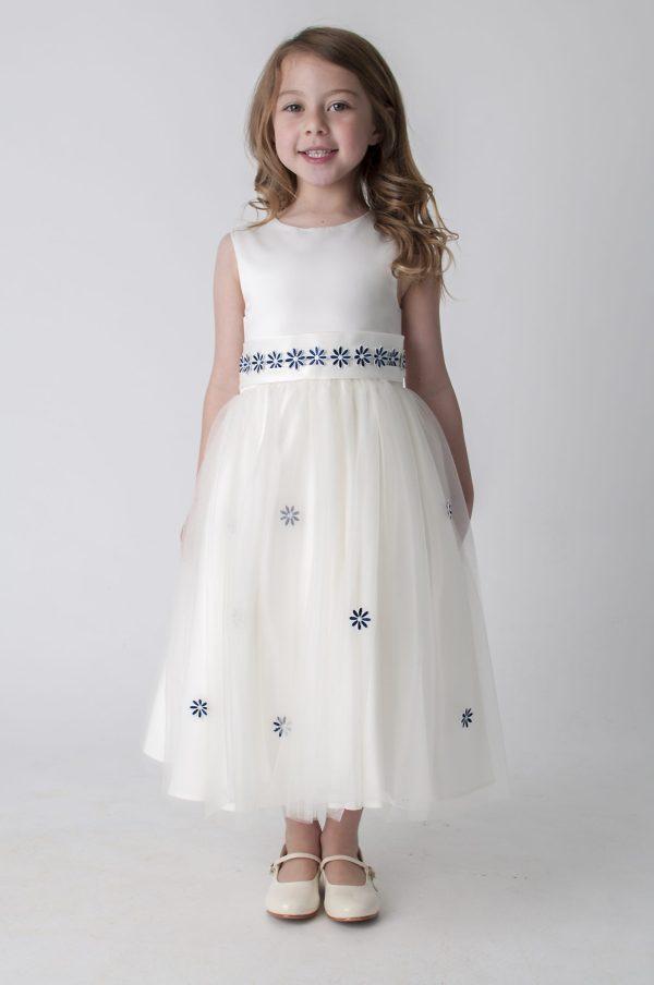Girls Jasmine Dress in Ivory/Navy