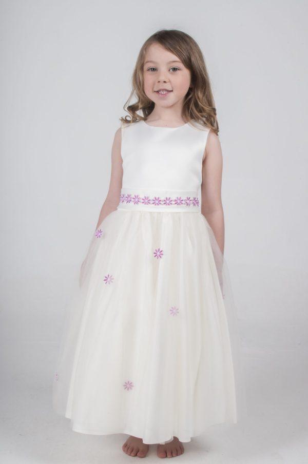 Girls Jasmine Dress in Ivory/Pink