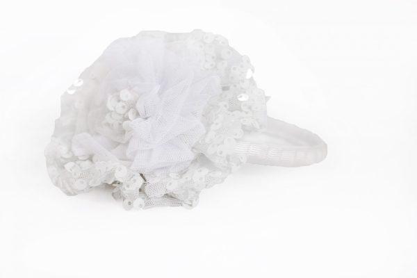 Pom-Pom Headband in White