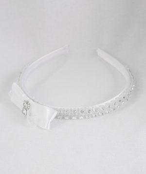 Diamante Bow Headband in White