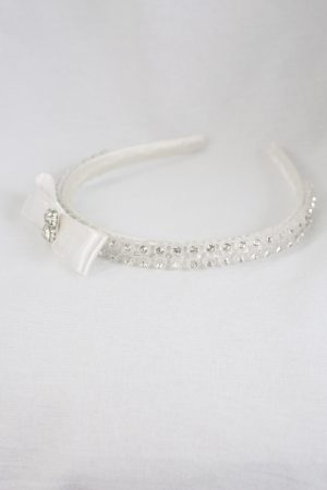 Diamante Bow Headband in Cream