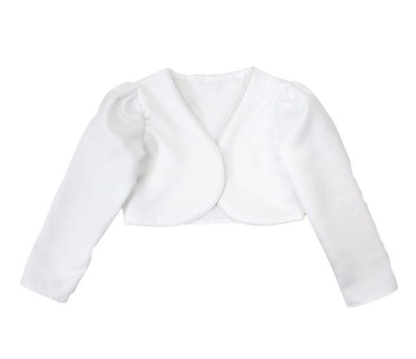 Girls Long Sleeve White Bolero