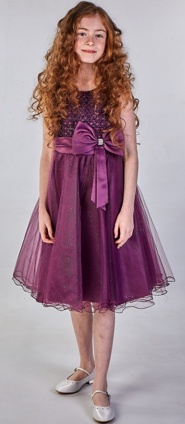 Girls Sparkle Bow Dress Purple