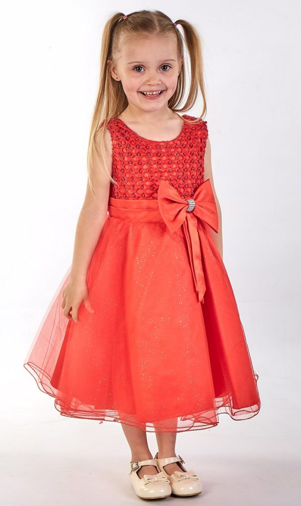 Girls Sparkle Bow Dress Red