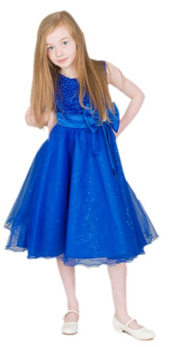 Girls Sparkle Bow Dress Royal
