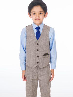 Boys 4 Piece Waistcoat Suits Boys 4 Piece Brown Herringbone Short Set Tweed Suit