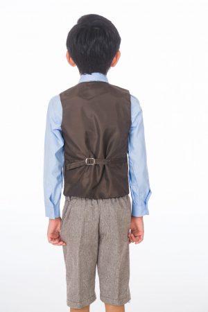 Boys 4 Piece Brown Herringbone Short Set Tweed Suit