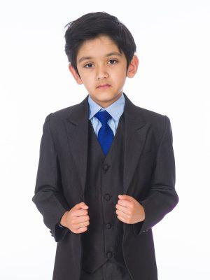 Boys 5 Piece Suits Boys 5 Piece Suit Romario Grey / Blue Charcoal Tailcoat