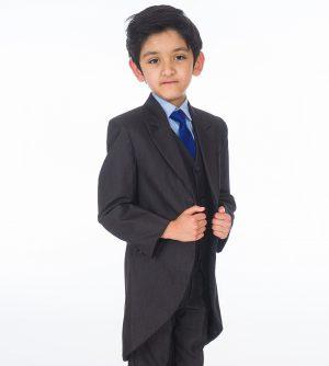 Boys 5 Piece Suit Romario Grey / Blue Charcoal Tailcoat