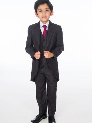 Boys 5 Piece Suits Boys 5 Piece Suit Romario Grey Charcoal Tailcoat