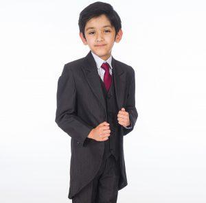 Boys 5 Piece Suit Romario Grey Charcoal Tailcoat