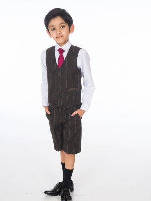 Boys 4 Piece Waistcoat Suits Boys 4 Piece Brown Check Short Set Tweed Suit