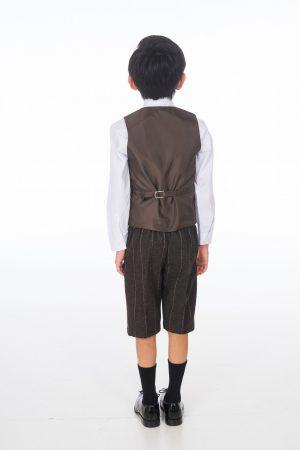 Boys 4 Piece Brown Check Short Set Tweed Suit