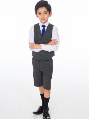 Boys 4 Piece Waistcoat Suits Boys 4 Piece Grey Herringbone Short Set Tweed Suit