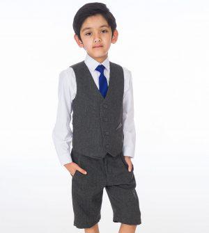 Boys 4 Piece Grey Herringbone Short Set Tweed Suit