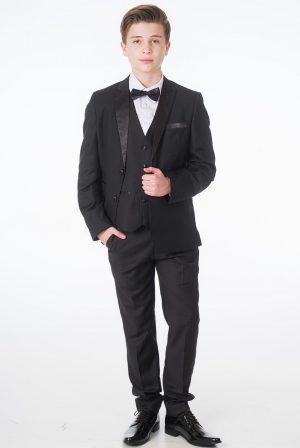 Boys 5 Piece Black Tuxedo Suit Milano Mayfair