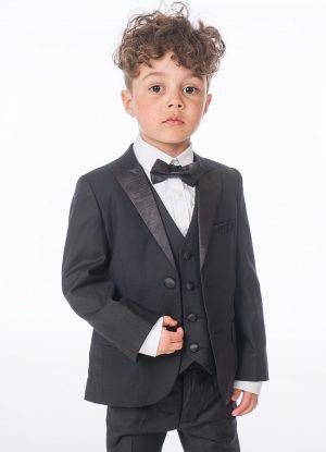 Baby Boys 5 Piece Black Tuxedo Suit Milano Mayfair