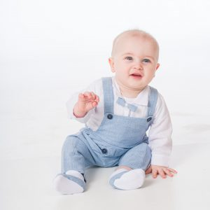 Baby Boys Blue Pinstripe Romper Bow Tie Outfit