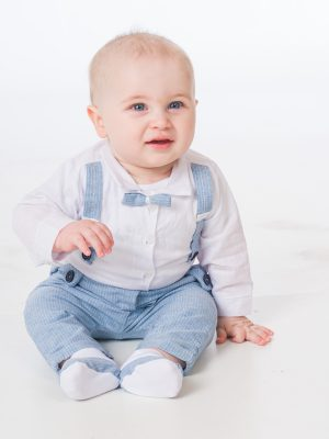 Baby Boys Suits Baby Boys Blue Pinstripe Brace Bow Tie Outfit