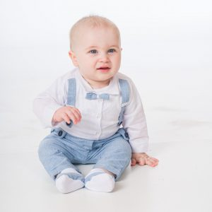 Baby Boys Blue Pinstripe Brace Bow Tie Outfit