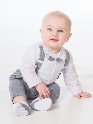 Baby Boys Suits Baby Boys Grey Brace Bow Tie Outfit